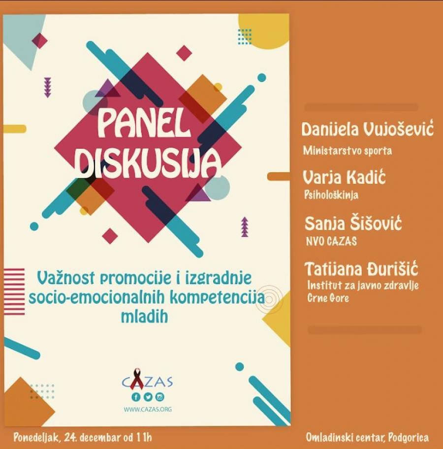 "NAJAVA: Panel diskusija ""Važnost promocije i izradnje socio-emocionalnih kompetencija mladih"""